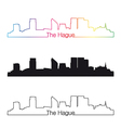 the hague skyline linear style with rainbow vector image vector image