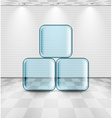 White room with glass plates vector image vector image