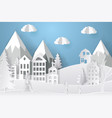 winter landscape in paper style mountains trees vector image vector image