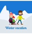 Winter vacation man with children vector image vector image