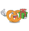 with gift pretzel mascot cartoon style vector image vector image