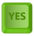 Yes green button icon cartoon style vector image