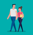 young couple in love walks together vector image