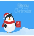 Snow landscape background with penguin vector image