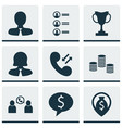 set of 9 hr icons includes tournament manager vector image