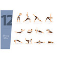 12 yoga poses for strong core vector image vector image