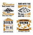 adventure quote and saying set good for print vector image vector image