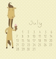 Basic Calendar for july 2014 vector image vector image