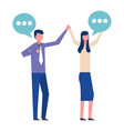 business couple dancing with speech bubble vector image