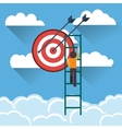 businessman climbing ladder icon vector image