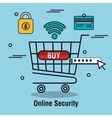 buy cart online security password isolated vector image