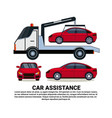 car assistance banner with car tow broken vehicle vector image