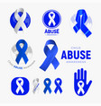 child abuse awareness icon set blue ribbon vector image