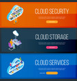 cloud services banners set vector image