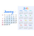 colorful planner 2018 january separately vector image