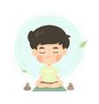 cute young boy cartoon in meditation pose vector image vector image
