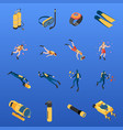 diving isometric icons set vector image