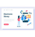 Electronic library student with access to books