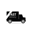fast delivery truck black vector image