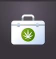 first aid kit marijuana cannabis leaf icon medical vector image