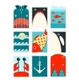 Flat Sea and Fish Rectangular Nautical Set vector image