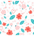 floral seamless pattern with doodle flowers and vector image vector image