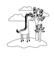 giraffe cartoon in outdoor scene with trees and vector image vector image