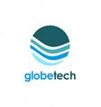 globe technology logo vector image vector image