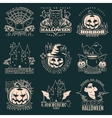 halloween monochrome emblems vector image
