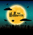 happy halloween day with full moon in background vector image