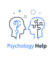 human head profile and jigsaw puzzle psychology vector image vector image