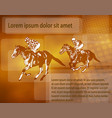 jockeys on racing horses over abstract background vector image vector image