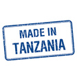 made in Tanzania blue square isolated stamp vector image vector image