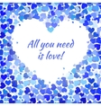 Many blue and cyan hearts frame vector image vector image