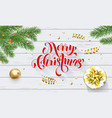 merry christmas golden decoration greeting card vector image vector image