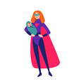 mother and batogether in superhero costumes vector image