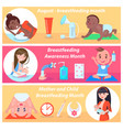 mother and child breastfeeding month in august vector image vector image