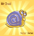 mr snail with mail vector image vector image