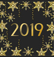 new 2019 year with flakes and stars decoration vector image