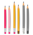 pencils realistic writting or drawing vector image vector image