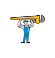 Plumber Lifting Monkey Wrench Isolated Cartoon vector image vector image