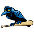 raven mascot and the baseball bat vector image vector image