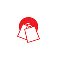 red shopping bag with circle retail logo design vector image