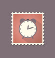 retro style alarm clock flat stamp with shadow vector image vector image
