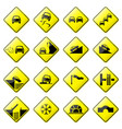 road sign glossy set of glossy road sign vector image