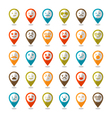 set color smiley icons mapping pins vector image vector image