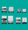 set of cargo trucks front and rear view delivery vector image