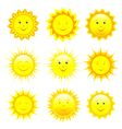 set smiling sun vector image vector image