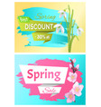 spring sale advertisement label branch of sakura vector image