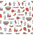 thin line art barbecue seamless pattern vector image vector image